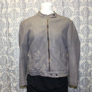 Top Shop Gray/brown perforated soft leather jacket